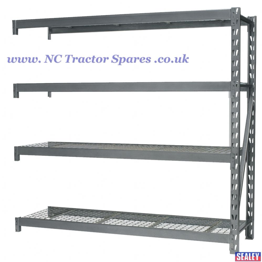 Heavy-Duty Racking Extension Pack with 4 Mesh Shelves 800kg Capacity Per Level